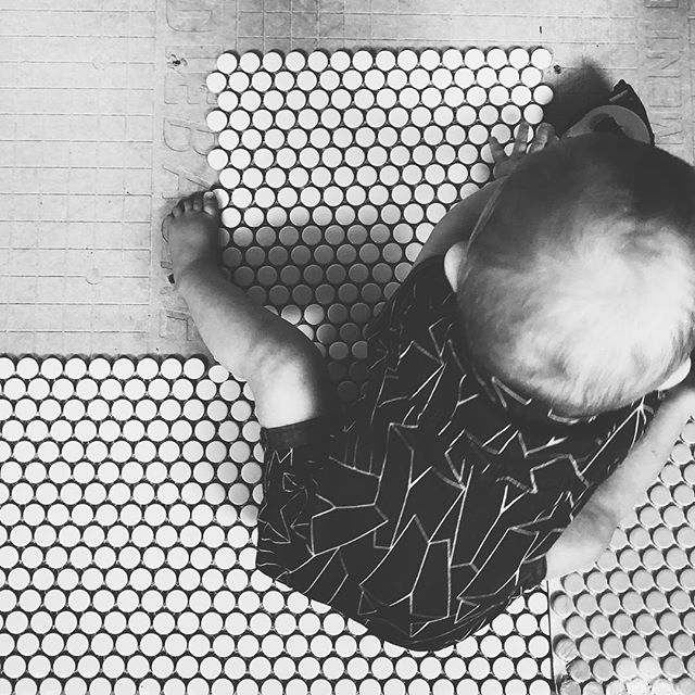 Penny tile and a baby 😍. Updates on our #oneroomchallenge in our stories today! No post up yet, the floor is taking a bit longer than expected! . . . . . . #pennytile #ihavethisthingwithfloors #historicbath #historichome #remodeling #realrenovation