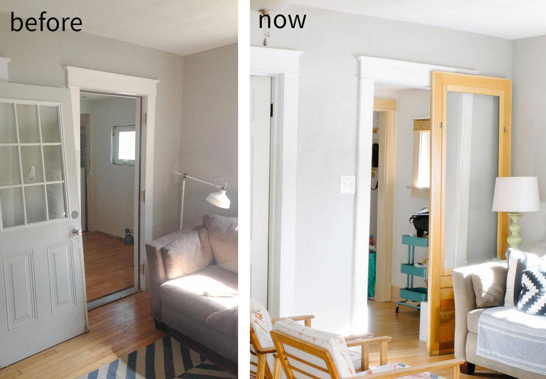 before & now of office sliding door