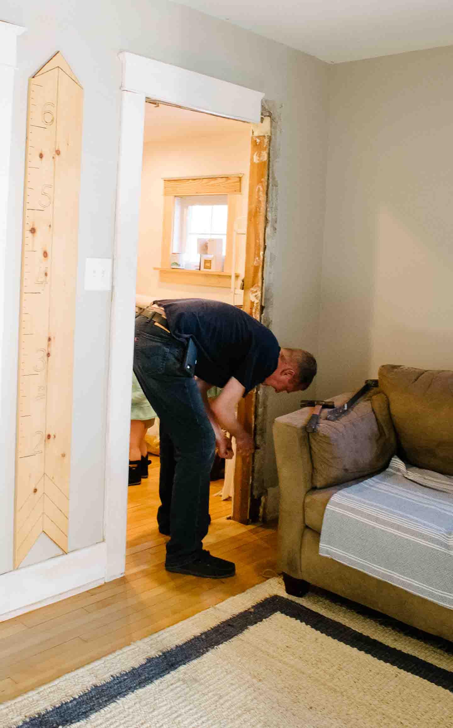 narrowing the doorway for sliding door