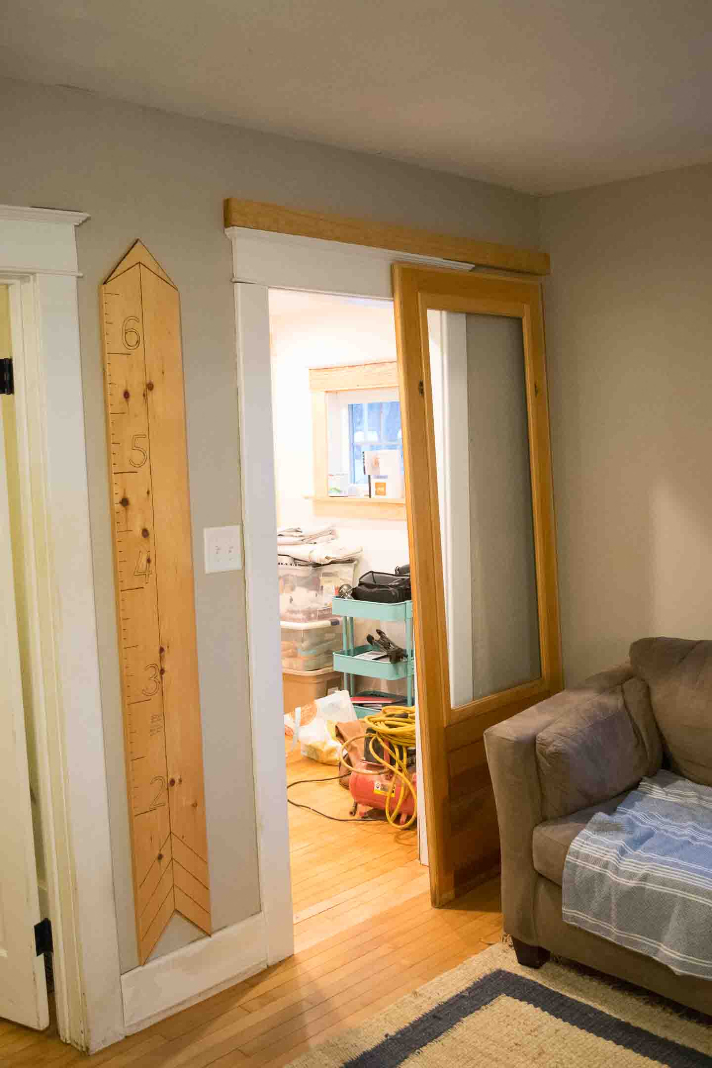 Using pine to pull hardware away from wall