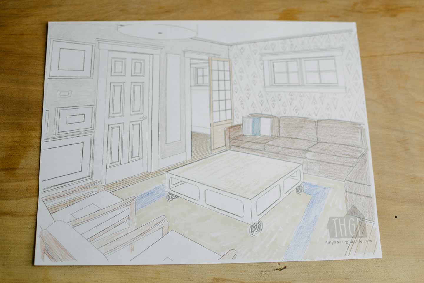 finished living room coloring page