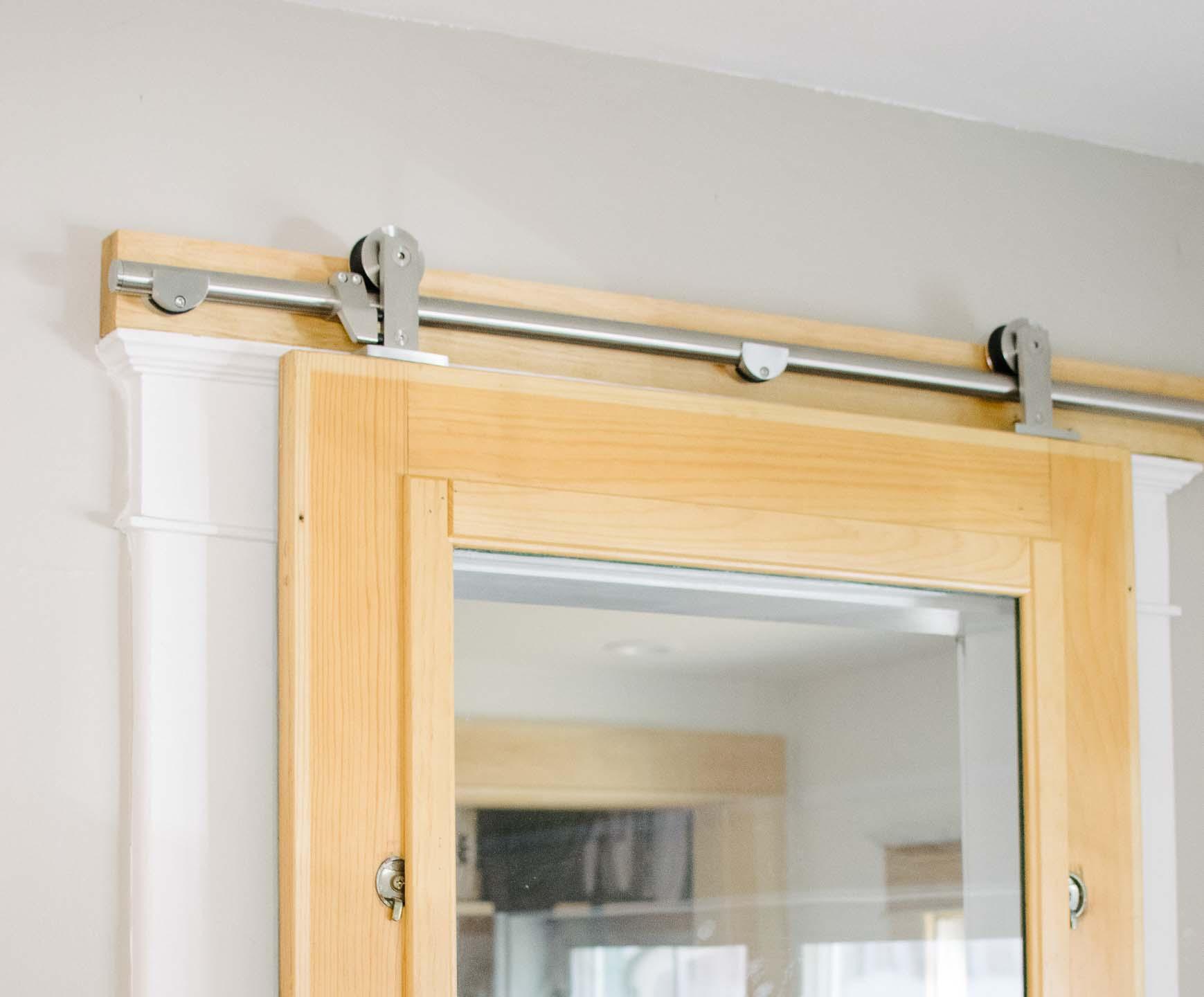 installed sliding door hardware