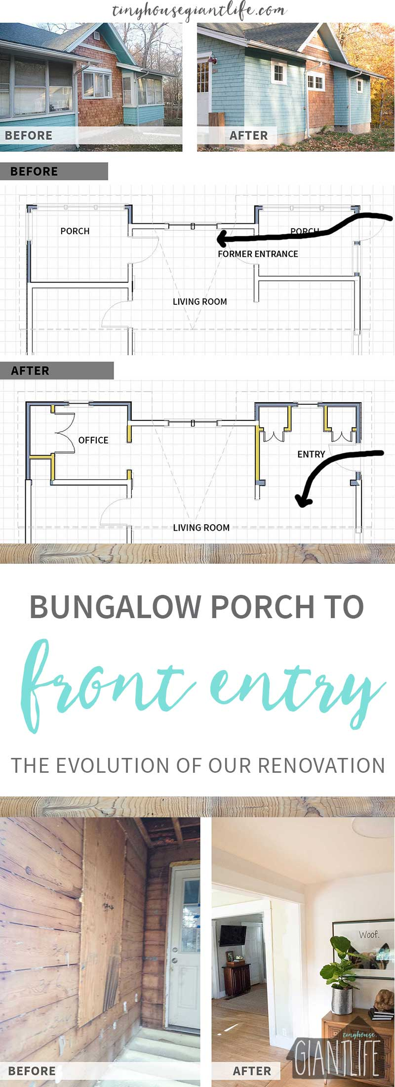 Bungalow Porch To Front Entry | One Room Challenge Week 1