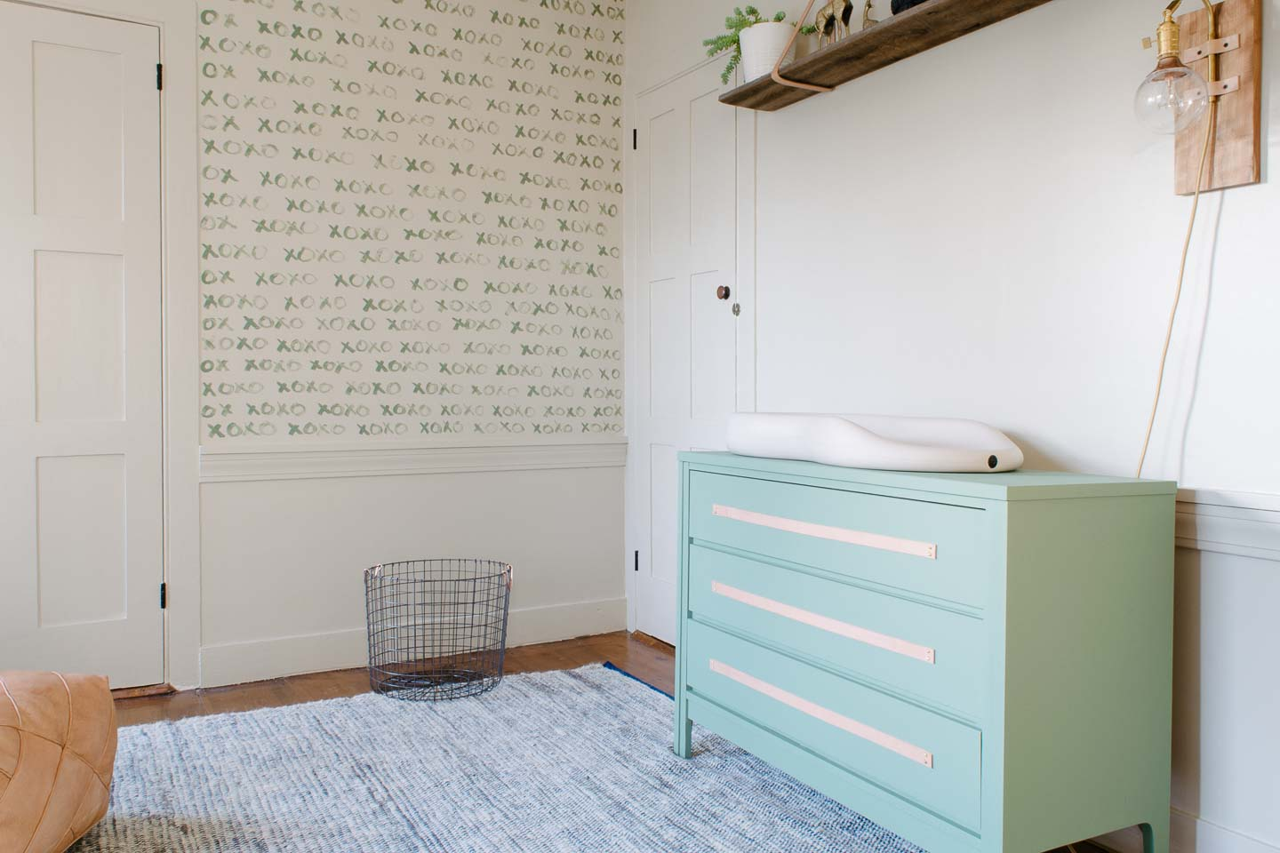 Green Dresser | Mid-Century Dresser | Leather Pull Dresser | Natural & Soothing Boy's Nursery Reveal | Brass, Leather, and Green touches in a little boy's nursery | Geometric Nursery | Mid-Century Nursery | Baby Nursery | Modern and Natural Boy's Room | Green Dresser | Green Changing Table |