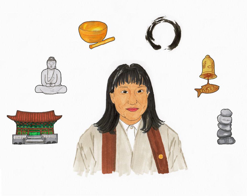 Portrait of Korean Zen teacher Choi Bo-Mi for Tricycle.org