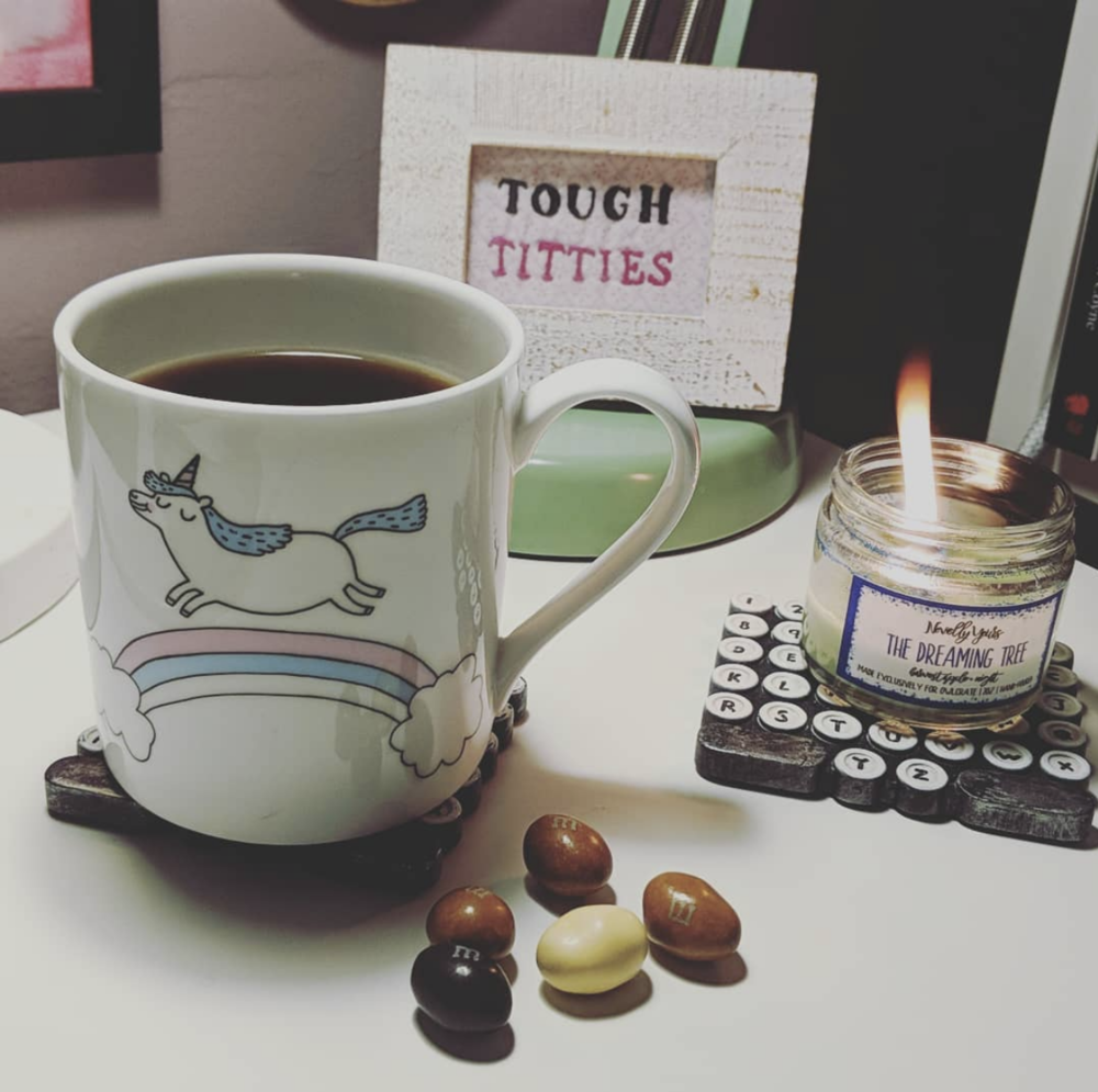 Because sometimes you just need coffee M&Ms and an adorable fat, trans unicorn mug, while setting things on fire.