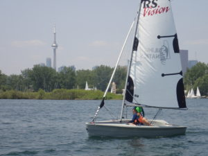 Sailing an RS Vision in the Outer Harbour 10mph wind
