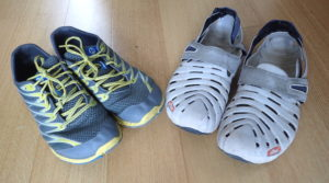 Running shoes and closed toe crocs or sandals can be re-purposed for learn to sail