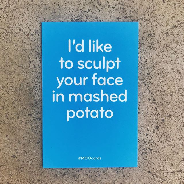 Pretty excited to get V1 of our business cards from @moo - these aren't our cards but it came with our cards and we like it 💆🏽‍♀️🥔 🙌  #moocards