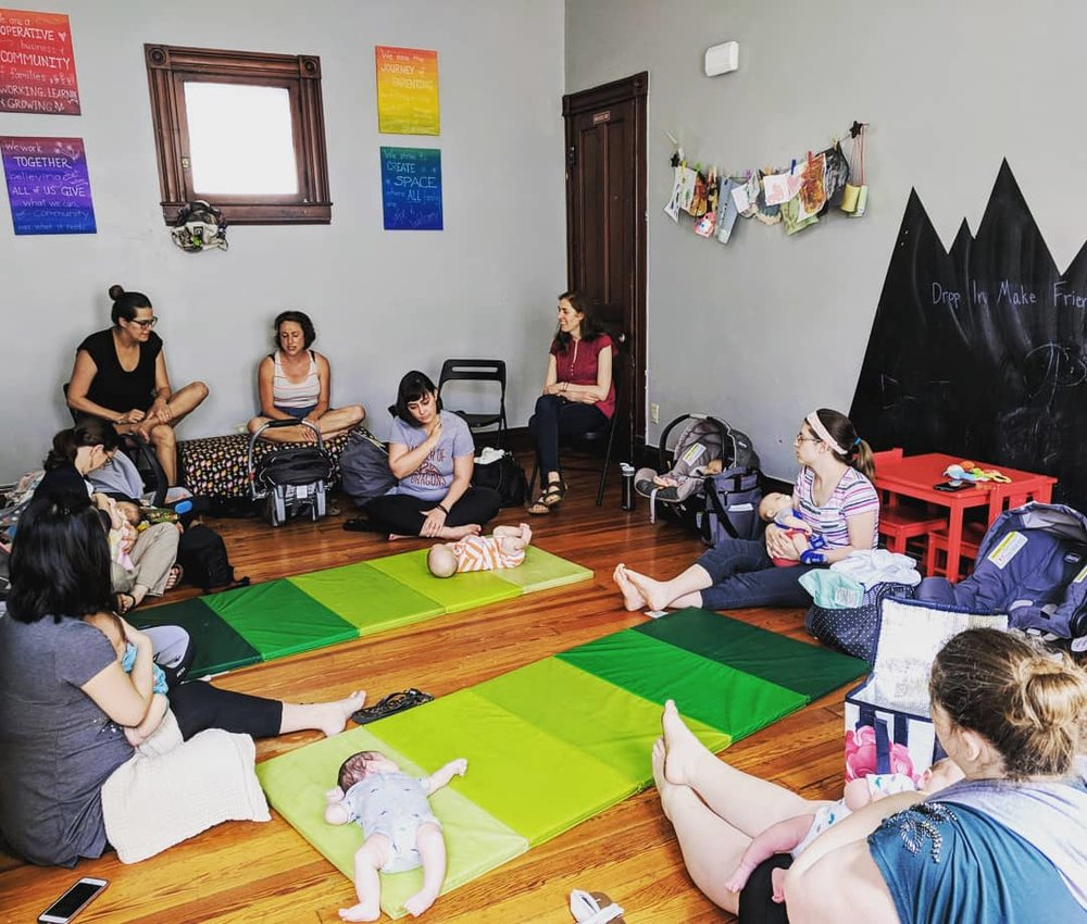 New Mama Group - FREE!   Monday 12pm-2pmDo you have a baby up to six months old? Join us at New Mama Group! Come early, arrive late, stay late, or hang out all day! Just COME! We're here for you. At Mama's Hip, you'll find like-minded mamas to talk about the ups-and-downs and ins-and-outs of parenthood.