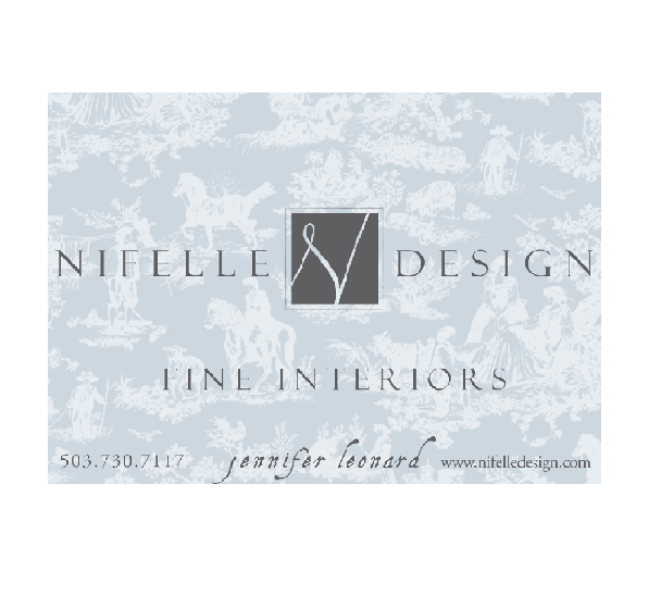 BRONZE SPONSOR : NIFELLE DESIGN   Nifelle Design Fine Interiors in Portland, Oregon offers full-service interior design to residential clients with projects throughout the United States.