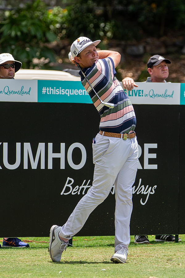 Cameron Smith from Brisbane at the Pro-Am of the 2018 Australian PGA. Cameron won the event for the second time in a row, edging out fellow Aussie Marc Leishman in the final round.Seen here hitting a 4 iron off the 8th tee, a short but tricky par 4 on the RACV Royal Pines Resort course on the Gold Coast This win lifts Cam to number 28 in the world golf rankings. (Leading Aussies are Leishman at #19 and Jason Day #13)