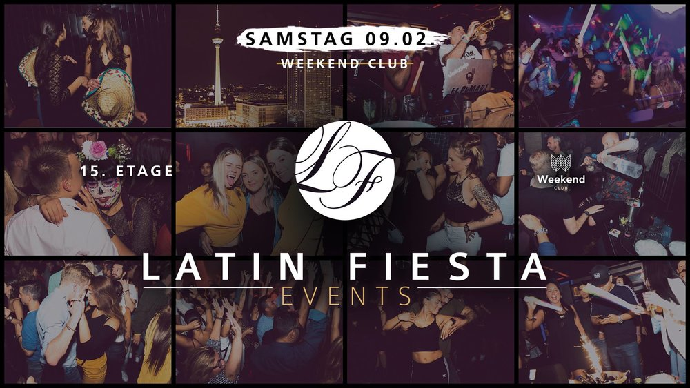 Latin Fiesta  Berlin's largest Latin Fiesta party series stands for the concentrated, positive power of a whole continent.  With a colorful, varied program, the event series offers a party highlight for everyone!  The hottest DJs of the scene put on and many other artists complete the perfect party feeling.