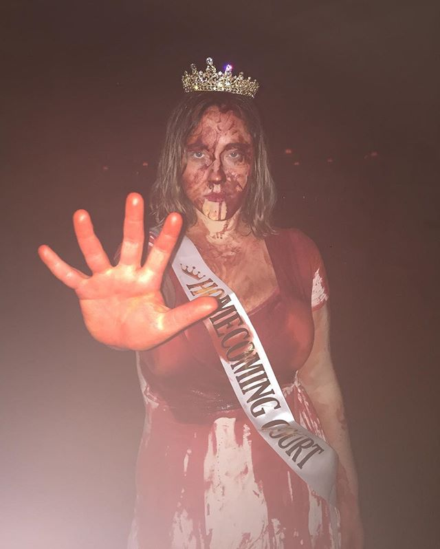 When I found out I was nominated for Homecoming Queen, my first thought was to laugh. Then, my second thought was to go dressed up as Carrie, so I did. Never would I have expected to actually win!!! It really completes the costume, don't you think?