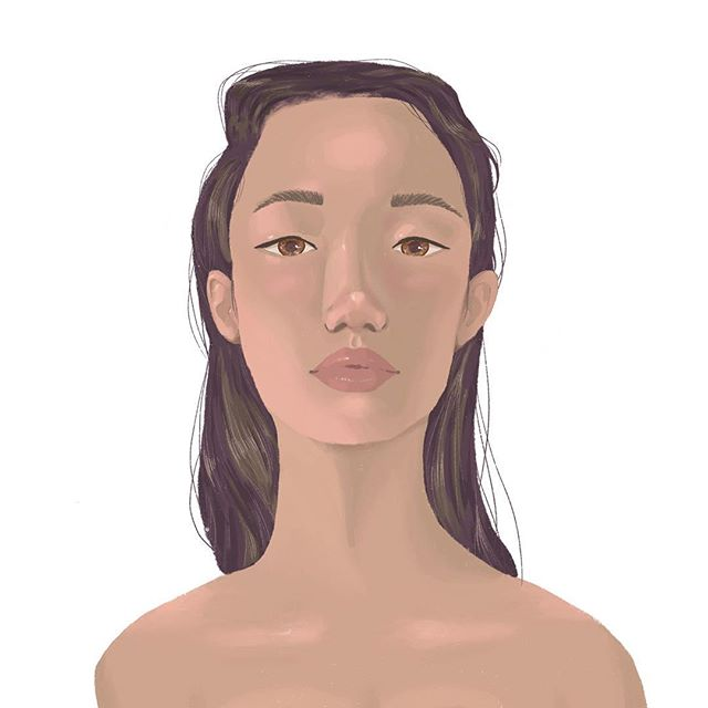 Trying out some new things! What do you think? . (I used Chinese model Xiao Wen Ju as a reference!) . #illustration #illo #illustrated #digitalart #digitalpainting #procreate #louisvilleartist #localartist