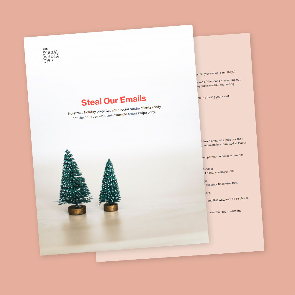 How to prepare your social media clients for the holidays: Free Email Swipe File