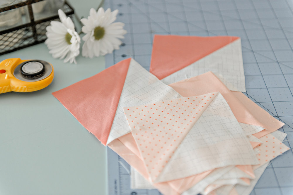 peach half square triangle quilt blocks flowers.jpg