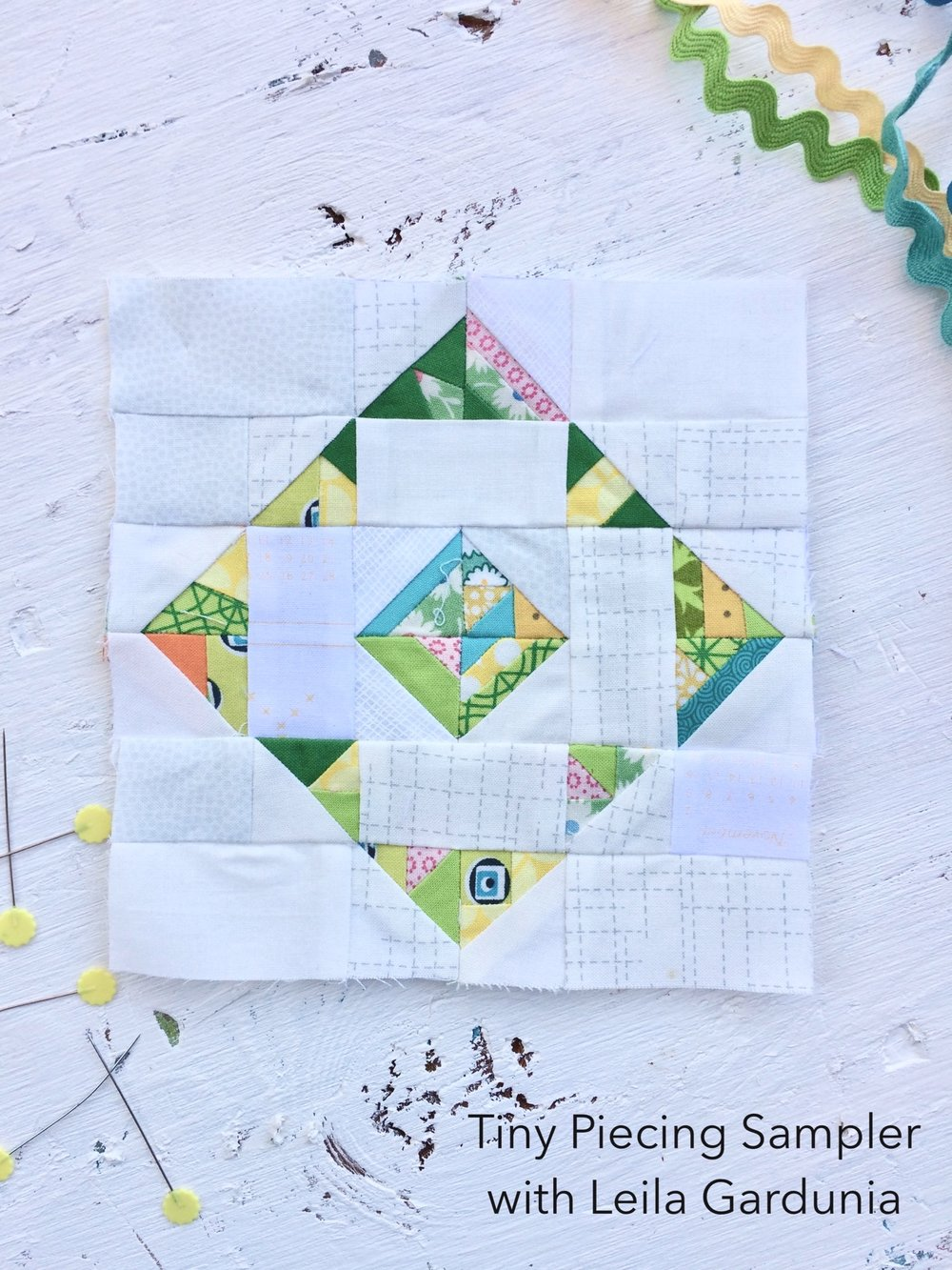 tiny piecing scrappy triangle quilt block green.jpg