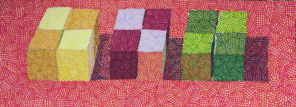 Twelve Colored Paper Cubes, 2014