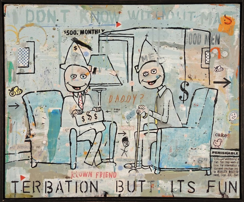 A Few Good Men 21 x 25 Mixed media and collage on wood panel