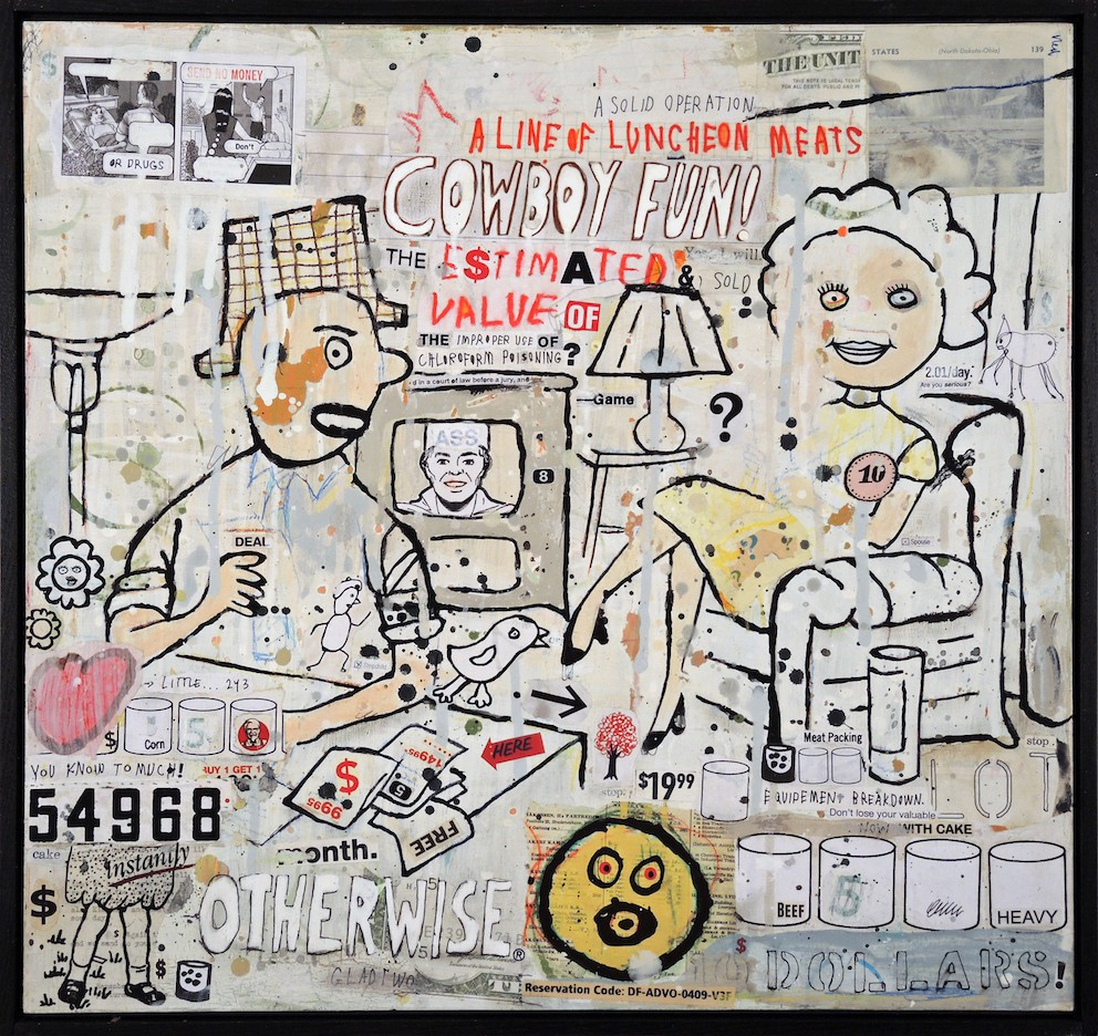 Here Is Very Cheap 20 1/2 x 21 1/2 Mixed media and collage on wood panel