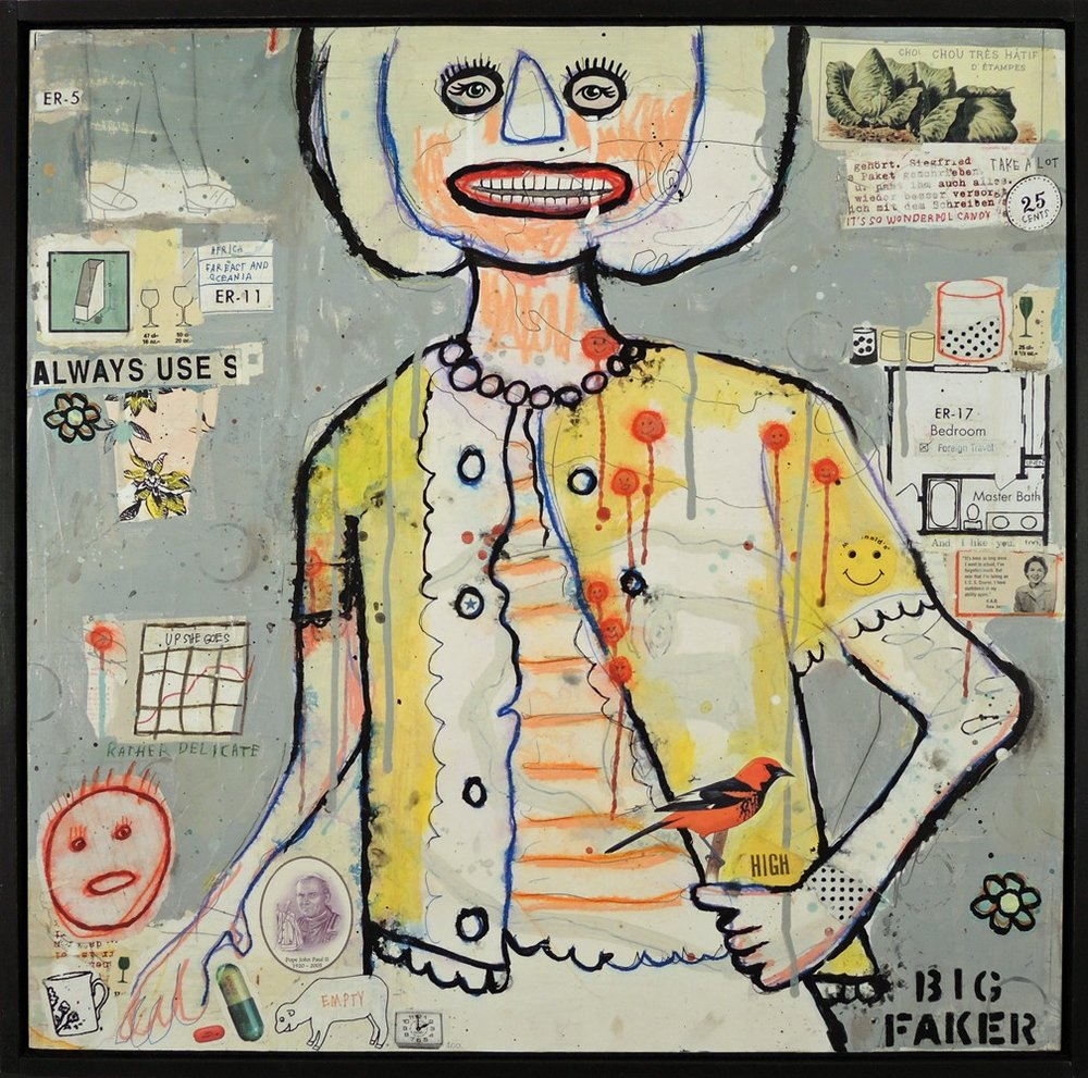 High Mom 25 x 25 Mixed media and collage on wood panel