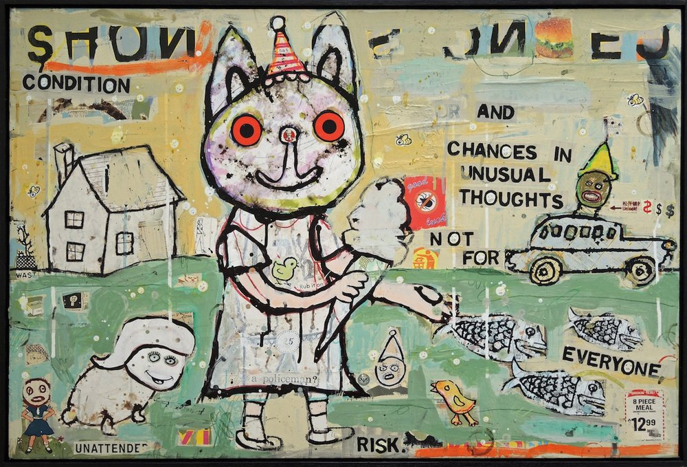 Unusual Thoughts Are Not For Everyone 25 x 37 Mixed media and collage on wood panel