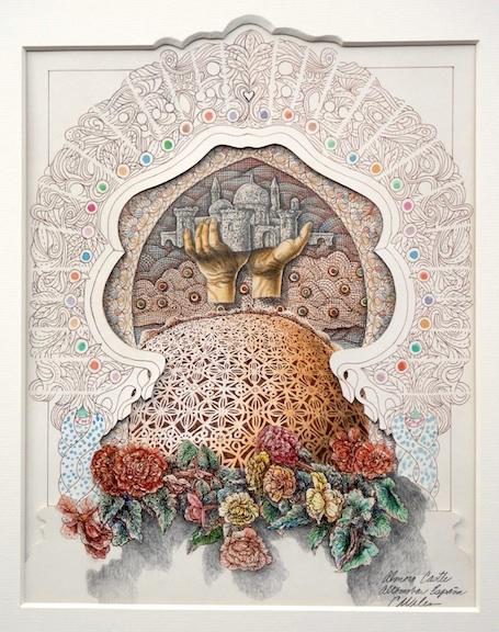 Carl Wilen's Almoro Castle 12 x 14.75 Watercolor Ink Graphite Cut Paper