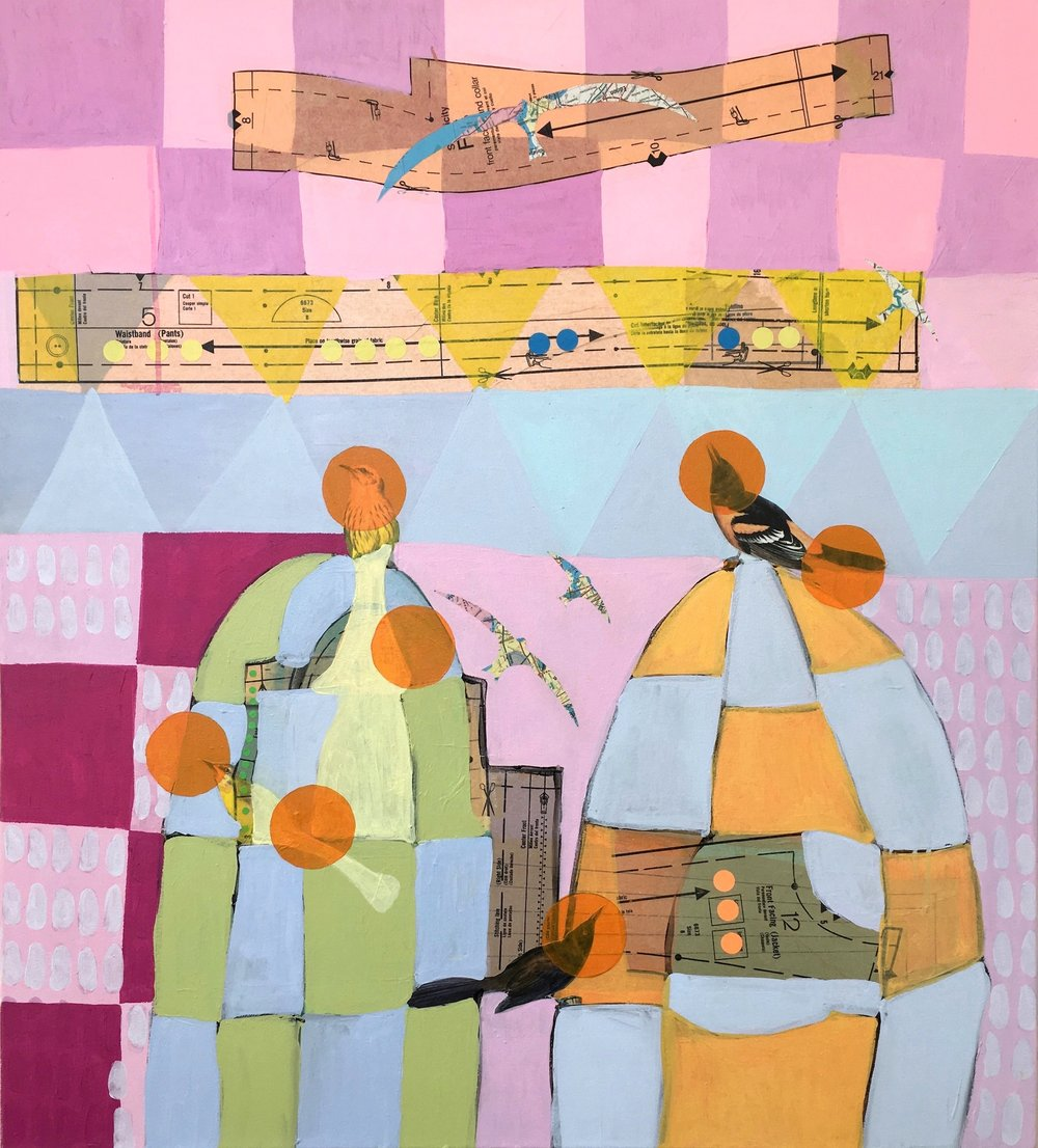 A Birder's Guide IS , 40 x 36, Acrylic & collage on canvas