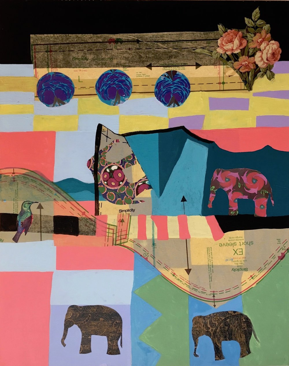 Elephant Bridge , 30 x 24, Acrylic and collage on canvas