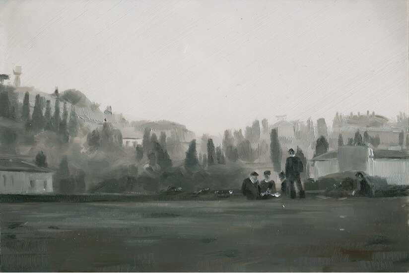 Italian Soldiers , 4 x 6 inches, Oil on mylar on wood