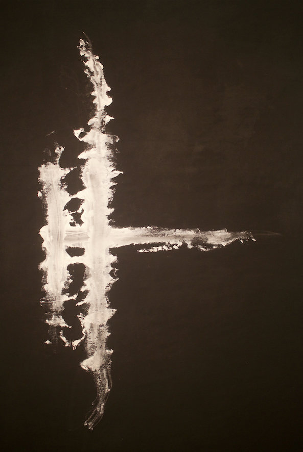 """""""En Croix"""" - """"En Croix"""" Is a set of two works, black acrylic on white canvas and white acrylic on black canvas. The largest of the collection, they are nearly 6 ft tall and approximately 5 ft wide.An exploration of the duality within one person; two separate legs can be so different. We have so much to explore and connect with others within ourselves, it is not ever so """"black and white.""""Acrylic on canvas 54""""x72"""" Set $4,500 Individual $2,500"""