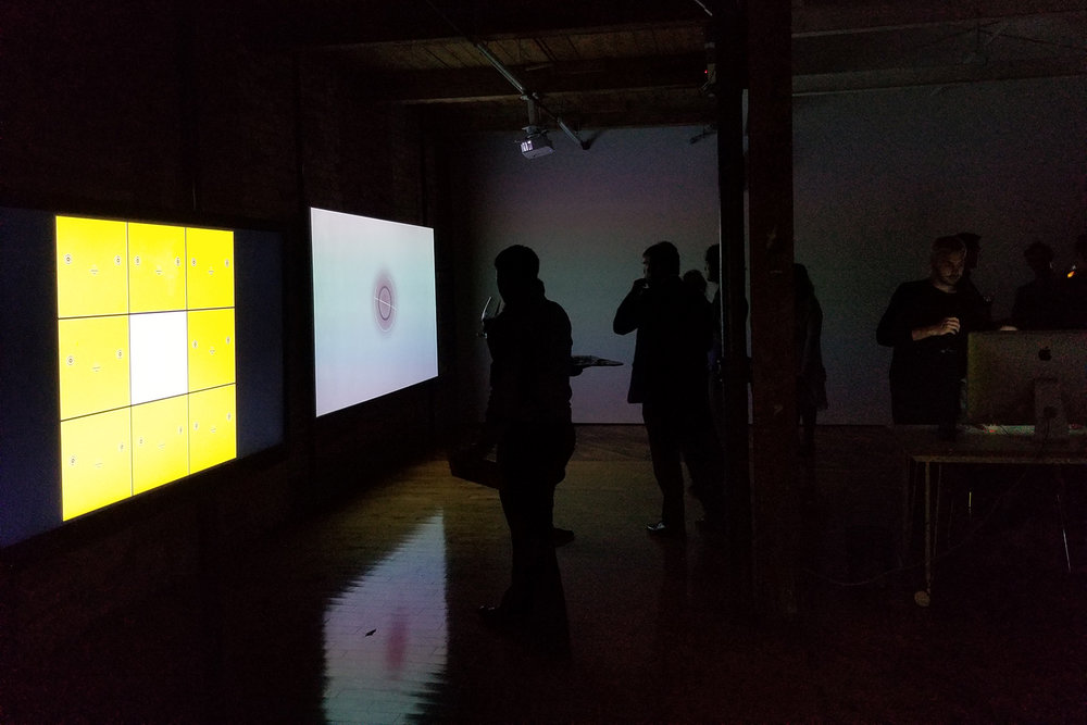 From left: Fanny Huard, AEIUO, 2017, Animation, 5:24 and Pipo Pierre Louis, Puntito_visual,2016,Animation with sound,6:32. Installation documentation from EQ Bank's Emerging Digital Artists Award Finalists Exhibition at Trinity Square Video, Toronto, October 2017.