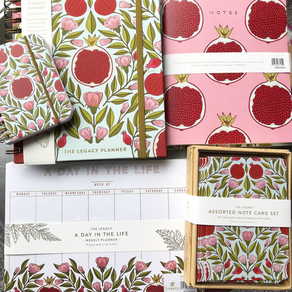 Pomegranate Stationery Collection by Andie Hanna for Legacy Publishing. Image courtesy of the artist.