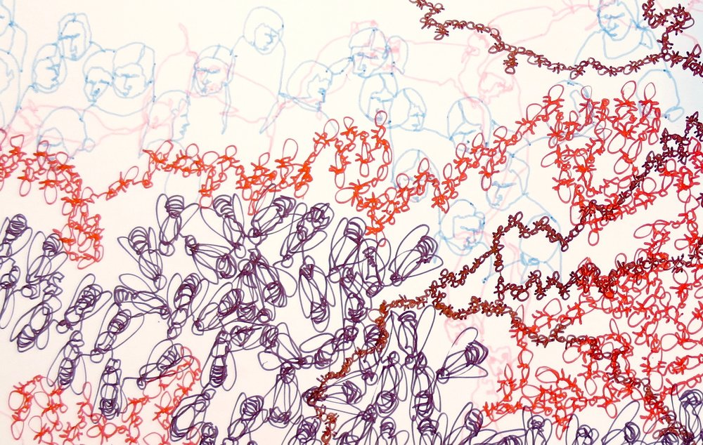 Superorganism, ink on hardboard, 72 x 72 inches, 2013