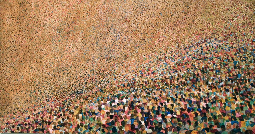 A Million to One, acrylic paint, NovaPlex on canvas, 36 x 54 inches, 2011 🔴