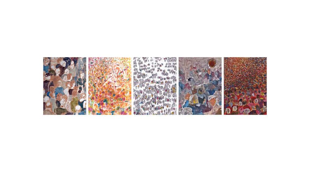 Population Studies, acrylic paint, plastic, fabric, oil pastel, ink, string, canvas on wood (6 panels), 7 x 9 inches, 2011