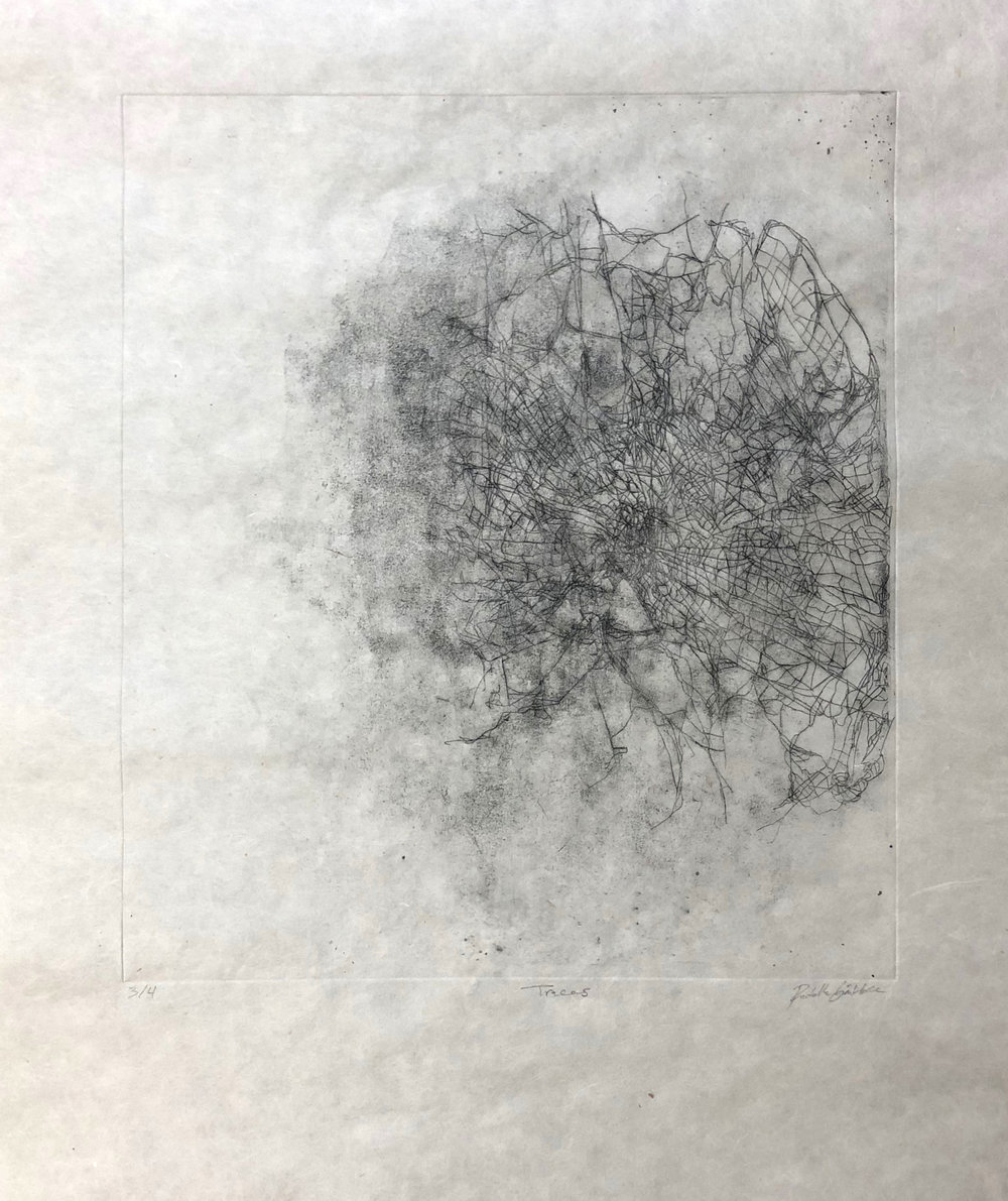 Hidden Traces, Hard-ground etching on copper on mitsumama washi, 22.5 x 19 inches, 2018