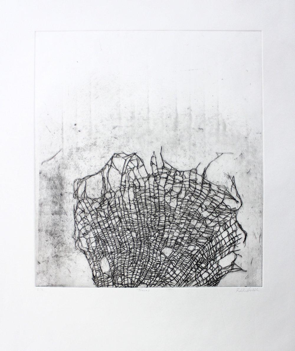 Traces, Hard-ground etching on copper on mitsumama washi, 22.5 x 19 inches, 2018