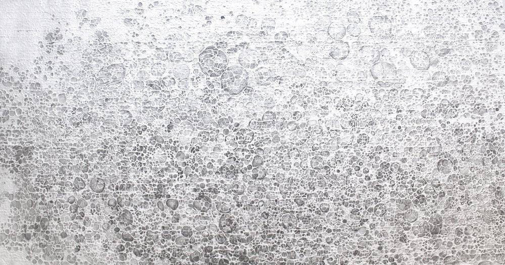Foam, kozo pulp and graphite on washi, 43.5 x 71.5 inches, 2018