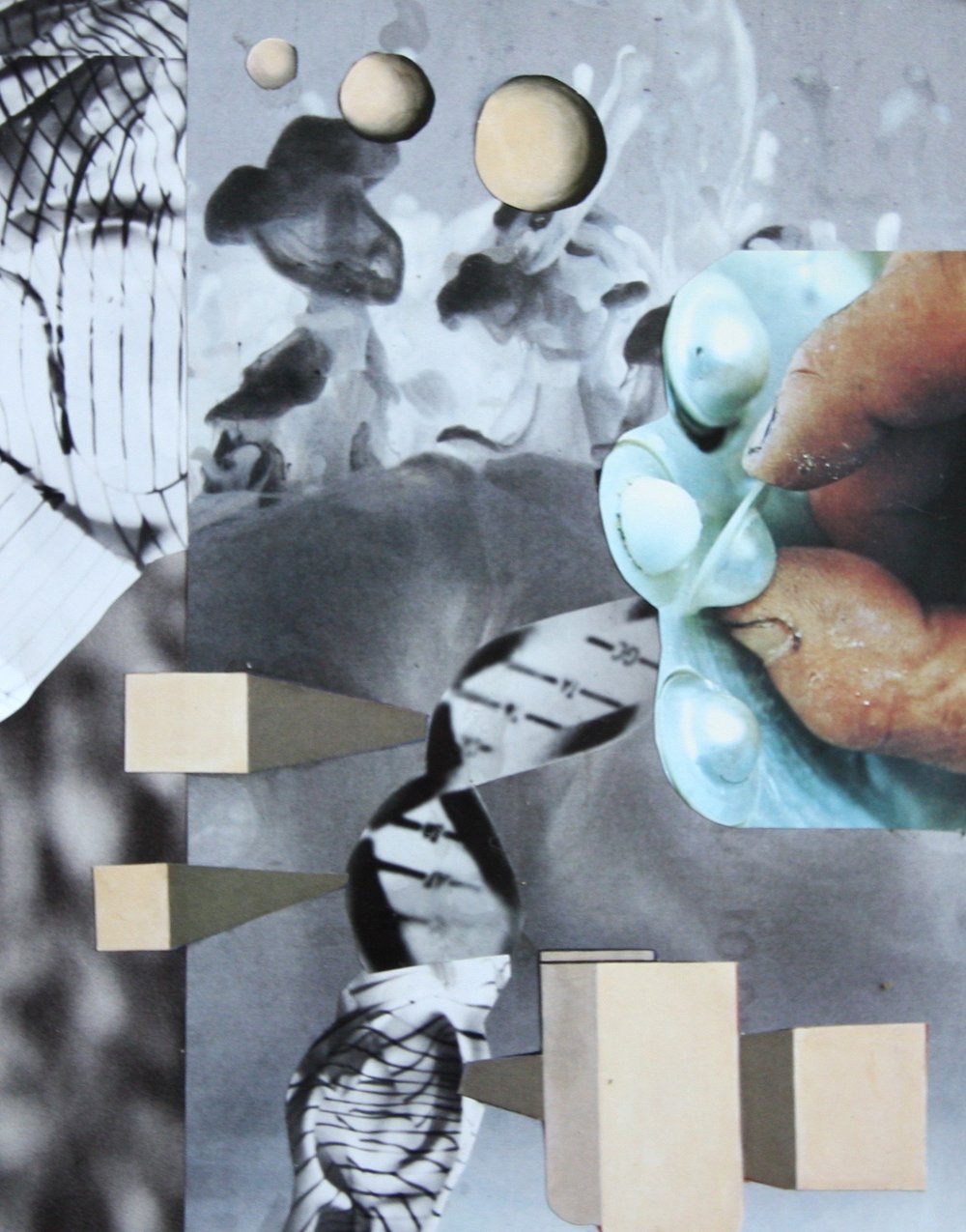 Explore, collage and resin on panel, 8.25 x 6.5 inches, 2015