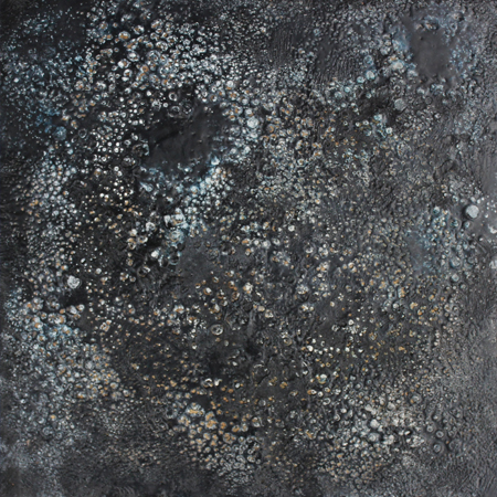Exploration, encaustic on wood, 7 x 7 inches, 2015