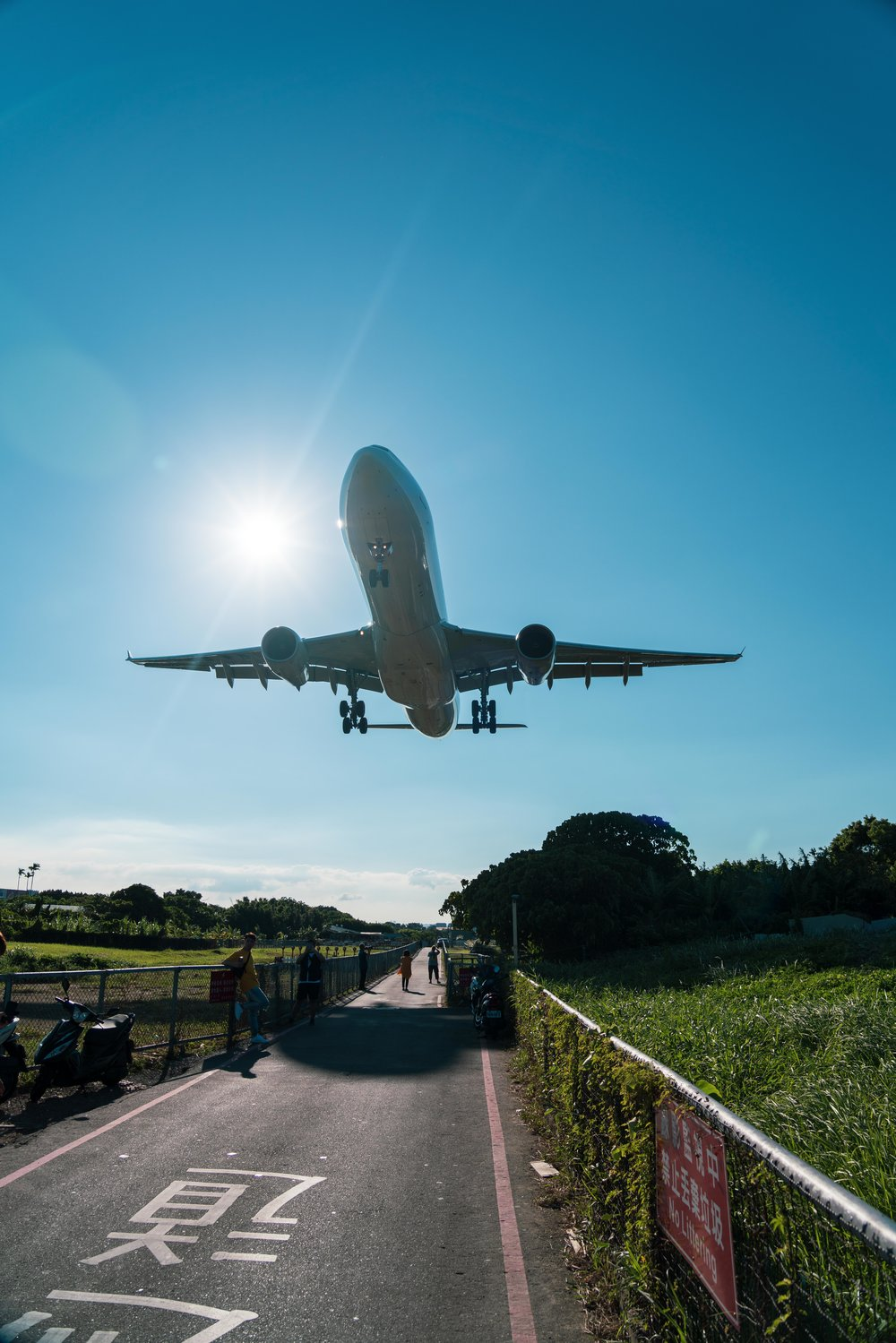 Airbus lands overhead at Songshan Airport, Taipei