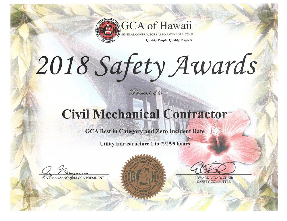2018 Safety Award for Best in Category and Zero Incident Rate (GCA of Hawaii)