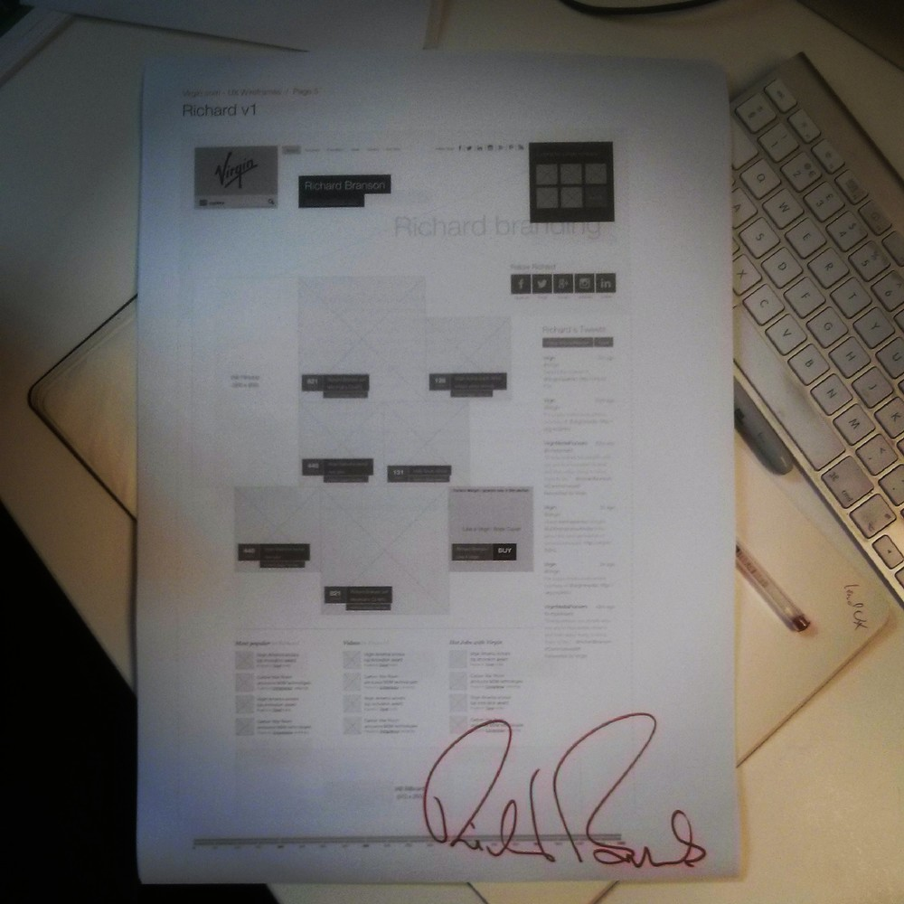 Fully endorsed - Virgin wireframes are officially signed off