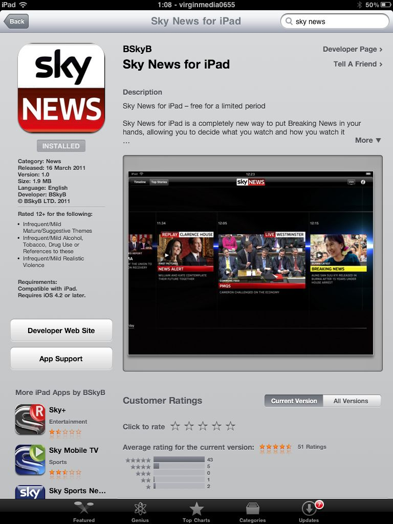 Sky News for iPad in the App Store