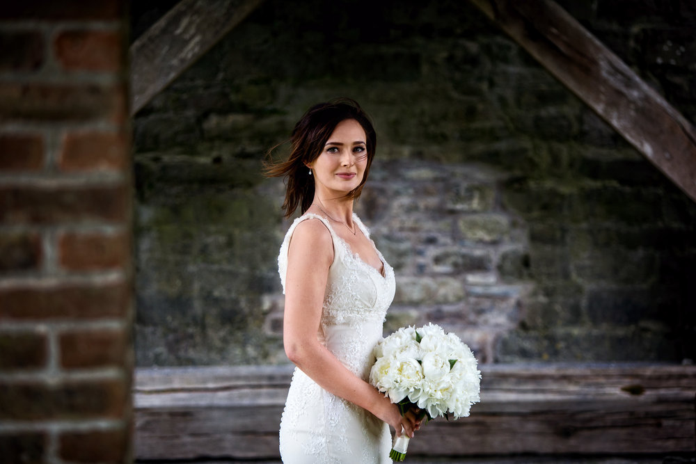 Bride in White Wedding Dress in Kinsale, Cork, Ireland. Photography by Cork Wedding Photographers David Casey. Charles Fort wedding photos