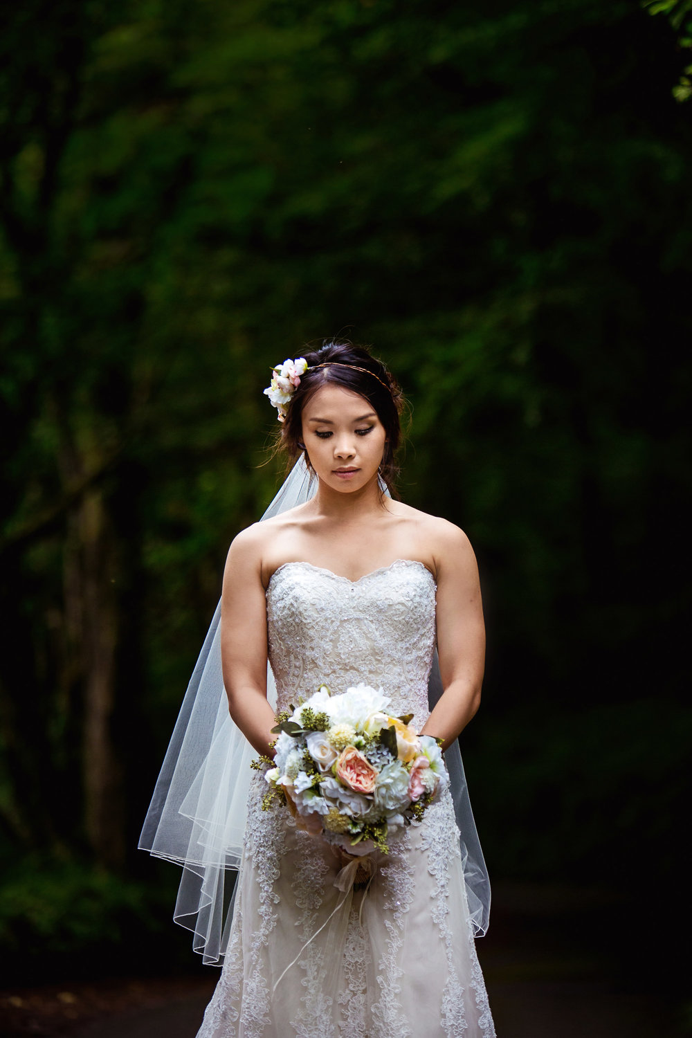 Skibbereen, West Cork Wedding. Beautiful White Wedding Dress with lace and flowers. Lough Hyne wedding photos by David Casey Photography