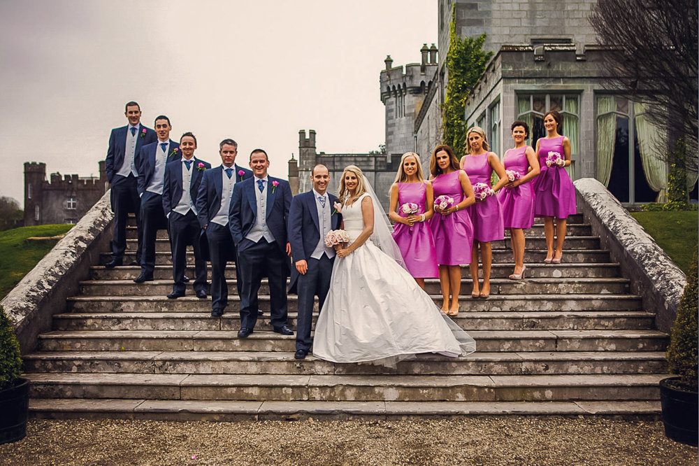 Dromoland Castle Wedding Photography. Dromoland Castle County Clare, Ireland. Wedding Party Grooms men and brides maids