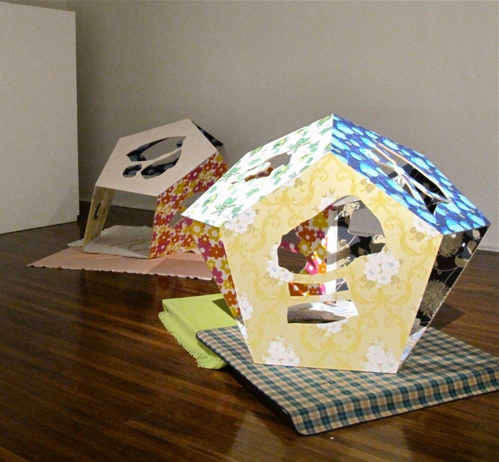 Cubbyhouse I & II    2012  12mm hoop BB grade ply wood, acrylic wash, primer, wallpaper, brackets and screws  120 x 120 x 120 cm